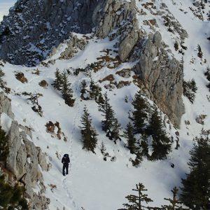 Creasta nordica a Pietrei Craiului, urme pe zapada