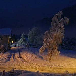 Chamonix, ninsoare proaspata de noapte