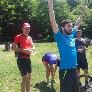 Alergare prin zona lacului Sf. Ana, la lac cu colegii biciclisti