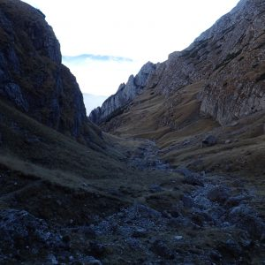 Pe Valea Morarului in alergare, vedere spre pare de jos a vaii