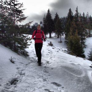 Alergare de iarnă în Piatra Mare, coborarea pe drumul familiar