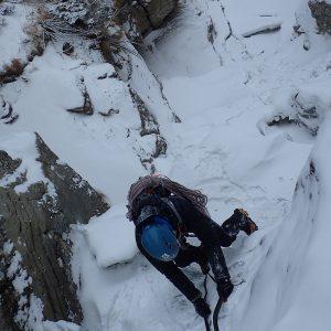 Escaladă pe gheaţă la Vânturiş, Croco pe cascada mica