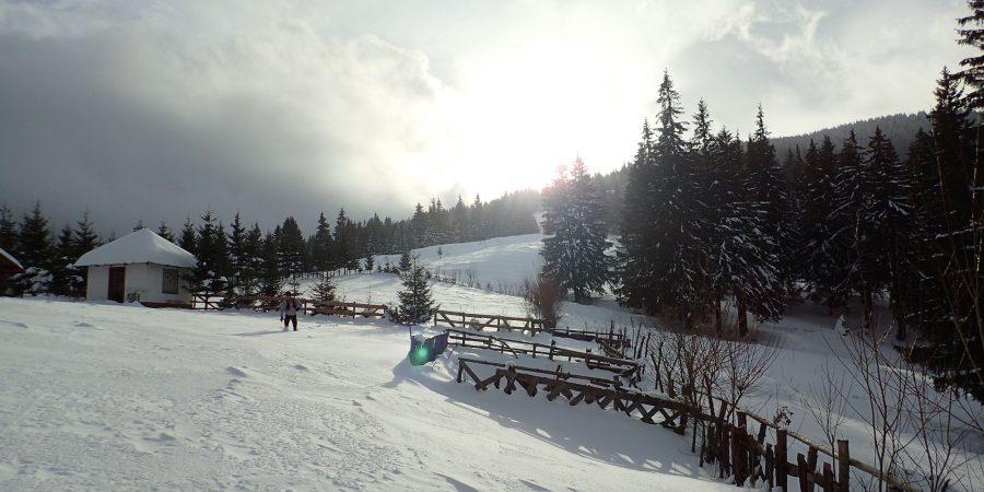 Trekking rapid de iarnă spre Mălăesti, Andrei langa cabana Diham